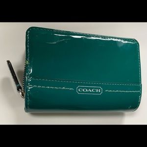 Coach Green Patent Leather Snap Zip Bifold Wallet